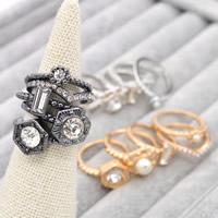 Zinklegierung Ring Set, mit ABS-Kunststoff-Perlen & Kristall, plattiert, facettierte & mit Strass, keine, frei von Blei & Kadmium, 17mm, Größe:6.5, 5PCs/setzen, verkauft von setzen