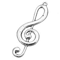 Musikinstrument Zinklegierung Anhänger, Musiknote, antik silberfarben plattiert, frei von Nickel, Blei & Kadmium, 22x61.50x3mm, Bohrung:ca. 2.5mm, 100PCs/Tasche, verkauft von Tasche