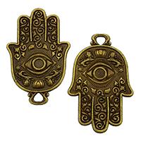 Evil Eye Anhänger, Zinklegierung, Evil Eye Hamsa, antike Bronzefarbe plattiert, Islam Schmuck, frei von Nickel, Blei & Kadmium, 48x31x2mm, Bohrung:ca. 4mm, 100PCs/Tasche, verkauft von Tasche