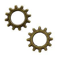 Zinklegierung Verbindungsring, ZahnradRad, antike Bronzefarbe plattiert, frei von Nickel, Blei & Kadmium, 12x12x1mm, Bohrung:ca. 6mm, 2000PCs/Menge, verkauft von Menge