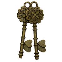 Zinklegierung Schlüssel Anhänger, antike Bronzefarbe plattiert, frei von Nickel, Blei & Kadmium, 11x34x2mm, Bohrung:ca. 2mm, 500PCs/Menge, verkauft von Menge