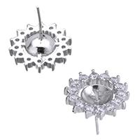 925 Sterling Silber Ohrring Stecker, Blume, Micro pave Zirkonia, 15x15x15mm, 1mm, 0.9mm, 5PaarePärchen/Menge, verkauft von Menge