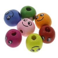 Holz Smile Face-Muster Bead, rund, Drucken, gemischte Farben, 14mm, Bohrung:ca. 1mm, ca. 600PCs/Tasche, verkauft von Tasche
