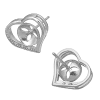 925 Sterling Silber Ohrring Stecker, Herz, Micro pave Zirkonia, 13x12x13mm, 0.8mm, 0.9mm, 5PaarePärchen/Menge, verkauft von Menge