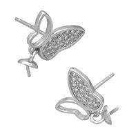925 Sterling Silber Ohrringe Tropfen Zubehör, Schmetterling, Micro pave Zirkonia, 11x8.5x12mm, 5x4x5mm, 0.6mm, 0.9mm, 5PaarePärchen/Menge, verkauft von Menge