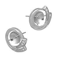 925 Sterling Silber Ohrring Stecker, Micro pave Zirkonia, 16x14x14mm, 1mm, 0.9mm, 5PaarePärchen/Menge, verkauft von Menge