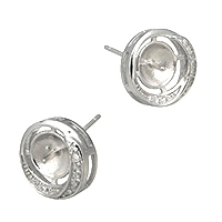 925 Sterling Silber Ohrring Stecker, Micro pave Zirkonia, 11x11x14.5mm, 1mm, 0.9mm, 5PaarePärchen/Menge, verkauft von Menge