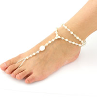 Mode Toe Fußkette, ABS-Kunststoff-Perlen, mit Kristall & Glas-Rocailles, bunte versilbert & facettierte, 220mm, Länge:ca. 9 ZollInch, 3SträngeStrang/Tasche, verkauft von Tasche