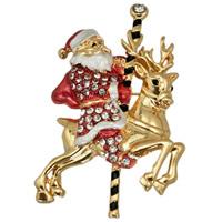 Weihnachten Broschen, Zinklegierung, Weihnachtsmann, goldfarben plattiert, Weihnachtsschmuck & Emaille & mit Strass, frei von Blei & Kadmium, 40x60mm, 3PCs/Tasche, verkauft von Tasche