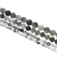 Natürliche graue Quarz Perlen, Grauer Quarz, rund, verschiedene Größen vorhanden, Bohrung:ca. 1mm, verkauft per ca. 14.5 ZollInch Strang