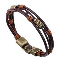 Unisex-Armband & Bangle, PU Leder, mit Gewachste Nylonschnur & Zinklegierung, antike Bronzefarbe plattiert, verkauft per 7-8.6 ZollInch Strang