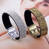 Strass Armband, Wollschnur, Zinklegierung Dornschließe, plattiert, für Frau & mit Strass, keine, 15mm, verkauft per ca. 8.6 ZollInch Strang