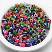 Harz Evil Eye Perlen, rund, verschiedene Größen vorhanden, gemischte Farben, Bohrung:ca. 2mm, 1000PCs/Tasche, verkauft von Tasche