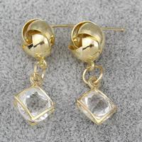 Kristall Ohrringe, Messing, mit Kristall, Rhombus, goldfarben plattiert, facettierte, frei von Nickel, Blei & Kadmium, 12x32x8mm, verkauft von Paar