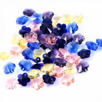 KRISTALLanhänger, Kristall, Blume, facettierte, gemischte Farben, 14mm, Bohrung:ca. 1mm, 50PCs/Tasche, verkauft von Tasche