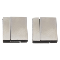 Messing Magnetverschluss, Rechteck, Platinfarbe platiniert, frei von Nickel, Blei & Kadmium, 21x23x6mm, Bohrung:ca. 3x20mm, 10PCs/Tasche, verkauft von Tasche