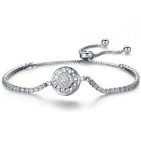 Befestiger Zirkonia Messing Armband, flache Runde, platiniert, einstellbar & Micro pave Zirkonia & für Frau, frei von Nickel, Blei & Kadmium, verkauft per ca. 6.2 ZollInch Strang