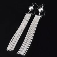 Mode-Fringe-Ohrringe, Messing, versilbert, mit 925 logo, frei von Blei & Kadmium, 13x113mm, verkauft von Paar