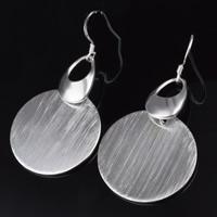 Messing Tropfen Ohrringe, flache Runde, versilbert, frei von Blei & Kadmium, 27x53mm, verkauft von Paar