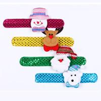 Baumwollsamt Weihnachten Schlag Armband, mit Plüsch & Kunststoff Pailletten & Eisen, für Kinder & Weihnachtsschmuck & verschiedene Stile für Wahl, 32mm, Länge:ca. 8.6 ZollInch, 10PCs/Tasche, verkauft von Tasche