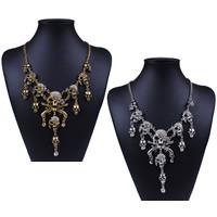 Halloween-Halskette, Zinklegierung, Schädel, plattiert, Twist oval & für Frau, keine, frei von Nickel, Blei & Kadmium, verkauft per ca. 18 ZollInch Strang