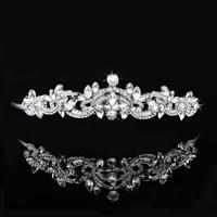 Krone, Zinklegierung, mit Kristall, silberfarben plattiert, für Braut & facettierte & mit Strass, frei von Blei & Kadmium, 160x35mm, verkauft von PC