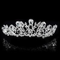 Krone, Zinklegierung, mit Kristall, silberfarben plattiert, für Braut & facettierte & mit Strass, frei von Blei & Kadmium, 120x41mm, verkauft von PC
