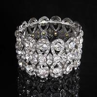 Braut Armband, Zinklegierung, Platinfarbe platiniert, für Braut & mit Strass, frei von Blei & Kadmium, 43mm, verkauft per ca. 7 ZollInch Strang
