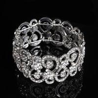 Braut Armband, Zinklegierung, Platinfarbe platiniert, für Braut & mit Strass, frei von Blei & Kadmium, 33mm, verkauft per ca. 7 ZollInch Strang