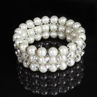 Braut Armband, ABS-Kunststoff-Perlen, mit Zinklegierung, Platinfarbe platiniert, für Braut & mit Strass, 25mm, verkauft per ca. 7 ZollInch Strang