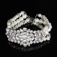 Braut Armband, Zinklegierung, mit ABS-Kunststoff-Perlen & Kristall, mit Verlängerungskettchen von 5cm, Platinfarbe platiniert, für Braut & facettierte & mit Strass, frei von Blei & Kadmium, 30mm, verkauft per ca. 7 ZollInch Strang