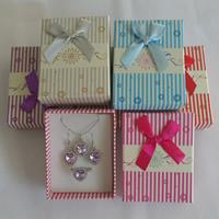 Karton Schmuckset Kasten, Fingerring & Ohrring & Halskette, mit Schwamm & Satinband, Rechteck, gemischte Farben, 70x90x30mm, 36PCs/Menge, verkauft von Menge