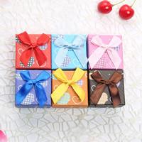 Karton Einzelring Kasten, mit Schwamm & Satinband, Quadrat, gemischte Farben, 50x50x38mm, 48PCs/Menge, verkauft von Menge