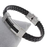 Unisex-Armband & Bangle, Edelstahl, mit PU Leder, mit Brief Muster, originale Farbe, 42x13x6mm, verkauft per ca. 7.5 ZollInch Strang