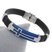 Unisex-Armband & Bangle, Edelstahl, mit Silikon, plattiert, mit Quermuster & mit Brief Muster & zweifarbig, 46x12x6mm, verkauft per ca. 7.5 ZollInch Strang
