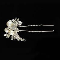 Braut Haarnadel, Zinklegierung, mit ABS-Kunststoff-Perlen & Kristall, silberfarben plattiert, für Braut & facettierte & mit Strass, frei von Blei & Kadmium, 45x90mm, verkauft von PC