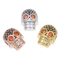 Messing hohle Perlen, Schädel, plattiert, mit Strass, keine, frei von Nickel, Blei & Kadmium, 9x12x7mm, Bohrung:ca. 1.5mm, verkauft von PC