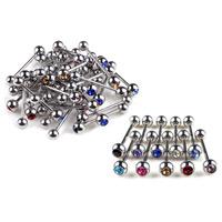 Edelstahl Zungenring, 316 L Edelstahl, unisex & mit Strass, gemischte Farben, 5mm, 5PCs/Menge, verkauft von Menge