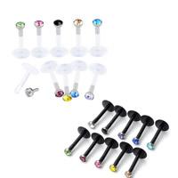 Edelstahl Lippenring, Acryl, mit 316 L Edelstahl, mit Strass, gemischte Farben, 8mm, 2mm, 50PCs/Menge, verkauft von Menge