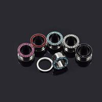 316 L Edelstahl Piercing Durchstich, verschiedene Größen vorhanden & mit Strass, gemischte Farben, 10PCs/Menge, verkauft von Menge