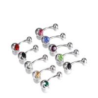 Edelstahl -Bauch-Ring, 316 L Edelstahl, mit Strass, gemischte Farben, 10x16mm, 5mm, 8mm, 20PCs/Menge, verkauft von Menge