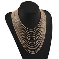 Mode-Multi-Layer-Halskette, Zinklegierung, mit Verlängerungskettchen von 2lnch, goldfarben plattiert, Kastenkette & für Frau & Multi-Strang, frei von Nickel, Blei & Kadmium, verkauft per ca. 15.7 ZollInch Strang