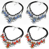 Acryl Halskette, Zinklegierung, mit Nylonschnur & Acryl, mit Verlängerungskettchen von 3lnch, plattiert, für Frau & facettierte & mit Strass, keine, frei von Nickel, Blei & Kadmium, verkauft per ca. 15.7 ZollInch Strang