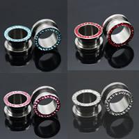 Edelstahl Piercing Durchstich, Rondell, verschiedene Größen vorhanden & mit Strass, keine, 2PCs/Tasche, verkauft von Tasche