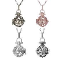 Messing Schwangere Harmonie-Kugel-Strickjacke-Halskette, plattiert, mit Bemaltung & Rolo Kette & hohl, keine, frei von Nickel, Blei & Kadmium, 21x28mm, verkauft per ca. 31 ZollInch Strang