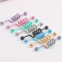 Edelstahl Piercing Stäbe, plattiert, gemischte Farben, 1.60x38x5.50mm, 2PCs/Tasche, verkauft von Tasche