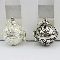 Messing Bola Ball Anhänger, Schmetterling, plattiert, hohl, keine, frei von Nickel, Blei & Kadmium, 30x35mm, Bohrung:ca. 3-5mm, 2PCs/Tasche, verkauft von Tasche