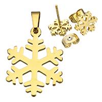 Edelstahl Schmucksets, Anhänger & Ohrring, Schneeflocke, goldfarben plattiert, 17.5x23x1mm, 9x10x12.5mm, Bohrung:ca. 3x4.5mm, verkauft von setzen
