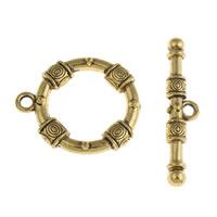 Zinklegierung Knebelverschluss, antike Goldfarbe plattiert, frei von Blei & Kadmium, 25x29x5mm, 38x18x5mm, Bohrung:ca. 2mm, 20SetsSatz/Tasche, verkauft von Tasche