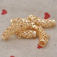 24K Gold Perlen, Messing, 24 K vergoldet, hohl, frei von Blei & Kadmium, 28x8mm, Bohrung:ca. 2-5mm, 20PCs/Tasche, verkauft von Tasche